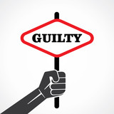 guilty word banner hold in hand stock vector