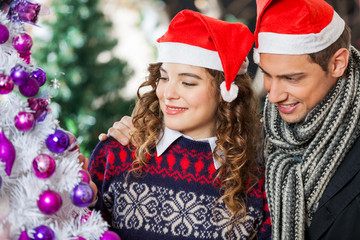 Couple Looking At Christmas Tree In Store