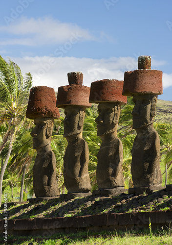 Moai at Anakena beach, Polynesian culture heritage