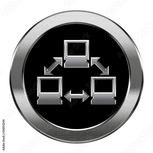 Network icon silver, isolated on white background.