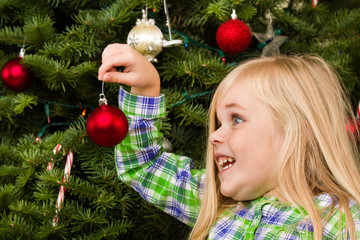 Girl is putting her ornament on the tree