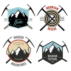 Set of vintage mountain explorer labels and badges