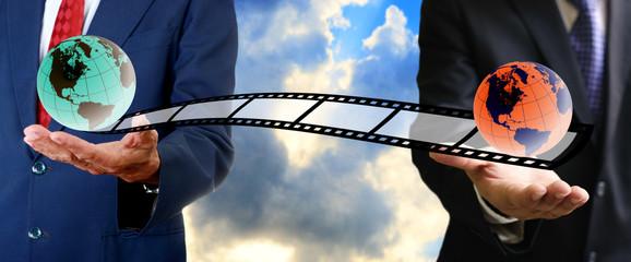 Businessman send movie film to buyer, Movie business concept