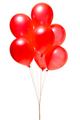Red balloons isolated on white