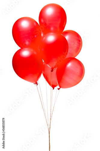 Red balloons isolated on white - 56855879