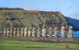 Moai of Tongariki, Easter Island, Polynesian culture symbol