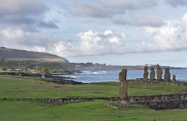 Moai of Tahai, Easter Island, Polynesian culture symbol