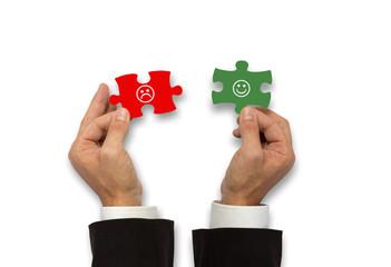 positiv / negativ - Puzzle Smiley Konzept