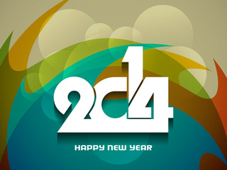 colorful background design for happy new year 2014.
