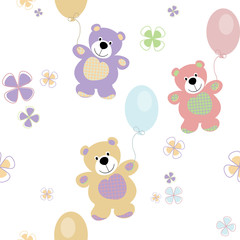 vector seamless pattern with bears for baby