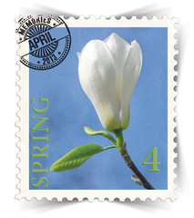 Label for seasonal ads or calendars stylized as post stamp