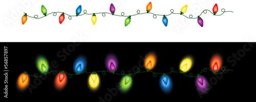 Leinwandbild Motiv Colored Christmas Lights Repeating