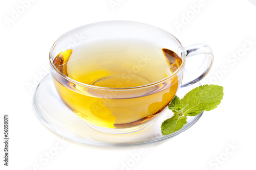Glass cup tea with mint leaf
