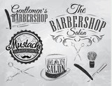 Fototapety Set Barbershop, scissors, shaving brush, razor, cylinder, in a r