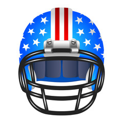 Footbal helmet with stripes and stars