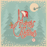 Retro Merry Christmas card with text.Vintage greeting illustrati