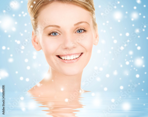 face of happy beautiful woman