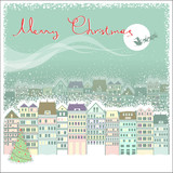 Christmas card background with cityscape and Santa in sky moon