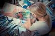 beautiful blonde woman painter