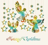 Merry Christmas card with Angels