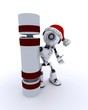 Robot with a christmas cracker