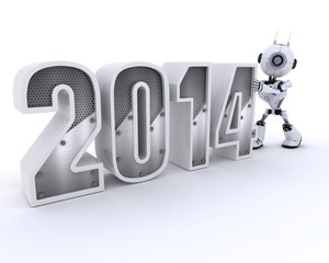 Robot bringing in the new year