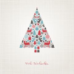 Weihnachtsbaum aus weihnachtlichen Motiven