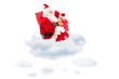 Santa Claus seated on clouds holding a bag and presents