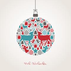 Weihnachtskugel aus weihnachtlichen Motiven