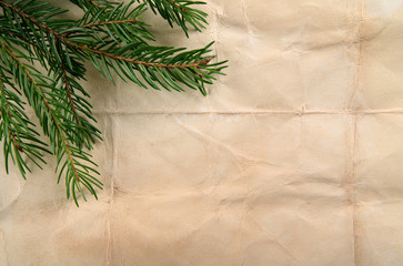 Beige paper background with Christmas tree