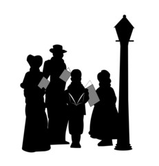 christmas carollers in silhouette