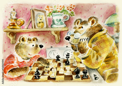 Teddy bears daddy and son playing chess