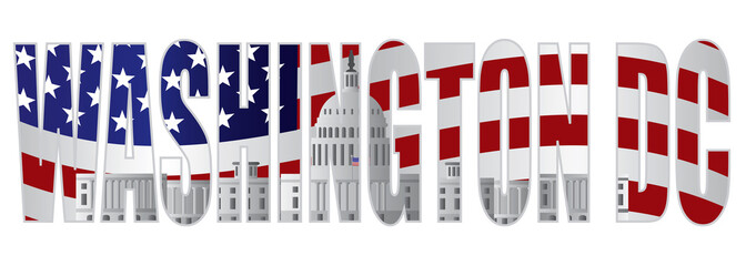 Washington DC Text Outline Capitol US Flag Vector Illustration