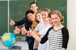 Постер, плакат: school class teacher motivating students