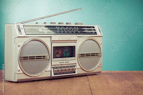 Retro radio and cassette stereo ghetto blaster recorder