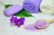 Spa set with purple orchid