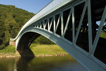 Bigsweir Bridge, a single span iron bridge over the River Wye an
