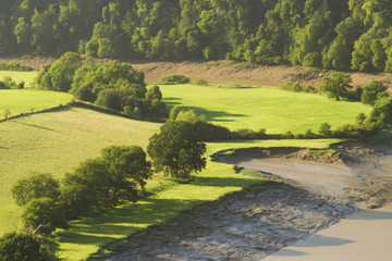 Morning landscape in the lower River Wye Valley