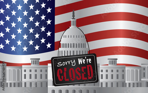 Washington DC Capitol with We Are Closed Sign Vector