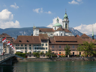 Solothurn, river Aare, St. Ursus Cathedral