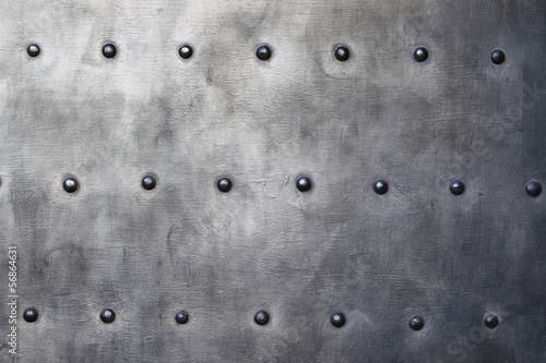 Poster Metal Black metal plate or armour texture with rivets