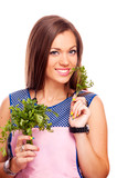 Housewife holding parsley
