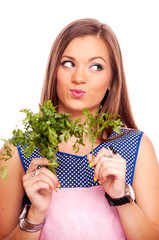 Housewife with parsley