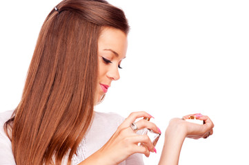 Young woman choose perfume