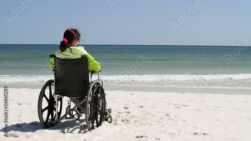 Woman Wheelchair Beach