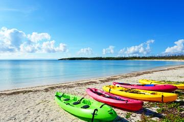 沖縄の美しいビーチとシーカヤック