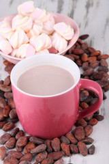 Cocoa drink  with spices, zephyr and cocoa beans