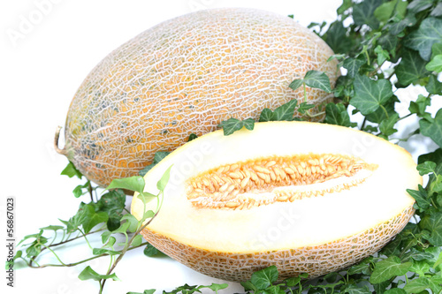 Ripe melons in leaves isolated on white
