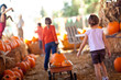 Little Girls Pulling Their Pumpkins In A Wagon - 56867288
