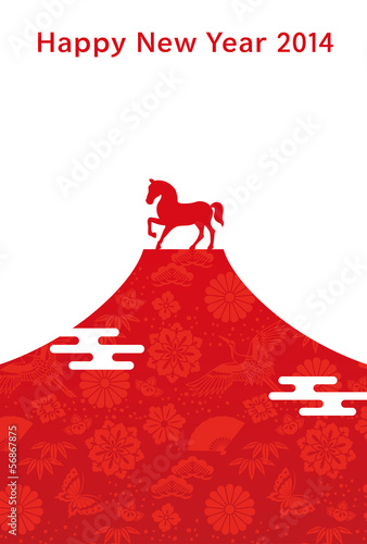 富士山と馬 年賀状 紅白